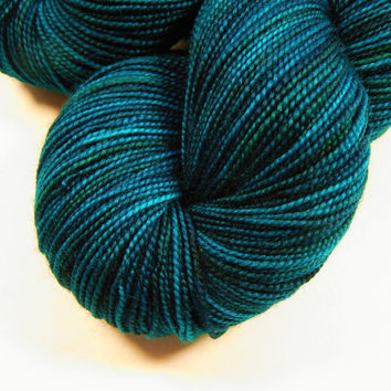 Hand Dyed Yarn - Sock Weight Superwash Merino Wool Yarn - Deep Sea Tonal - Knitting Crochet Craft Supplies