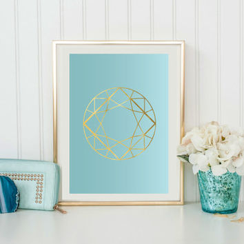 Gem Print, Mint Color, Wall Decor, Crystal Print, Crystal Poster, Geometric Print, Minimal Art, Modern Art.