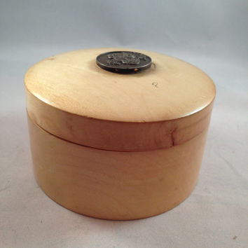 Handmade India Wooden Round Trinket Box with Lid