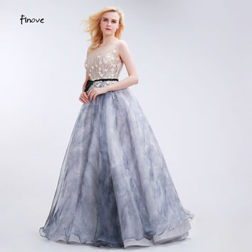 Finove Vintage Evening Dresses Long 2017 Hot A Line with Sleeveles Appliques Flower Illusion Gray Celebrity Prom Dresses