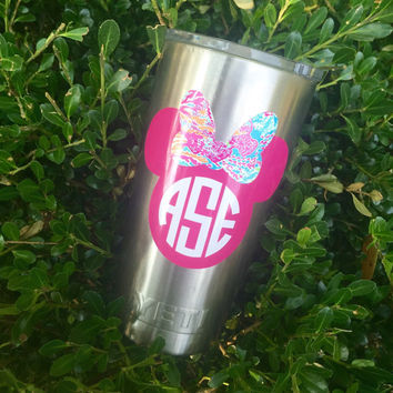 Mouse Lilly Pulitzer Inspired Monogram Vinyl Decal