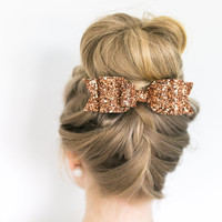 Oversized pumpkin Bronze Glitter fabric bow hair clip - perfect for Fall!