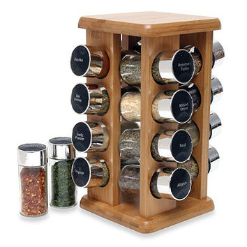 Lipper Bamboo 16-Bottle Filled Spice Rack