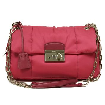 Prada BR5024 Pink Nylon Tessuto Bomber Pattina Shoulder Bag Handbag