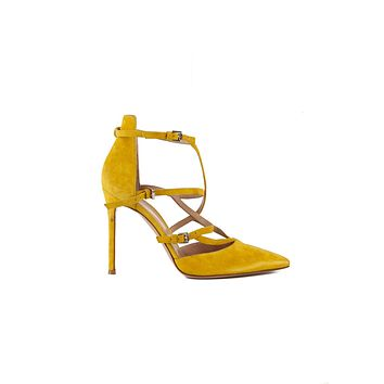 Gianvito Rossi Womens 105 Yellow Suede Pumps