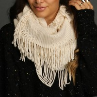 Sale-ivory Cable Knit Circle Scarf