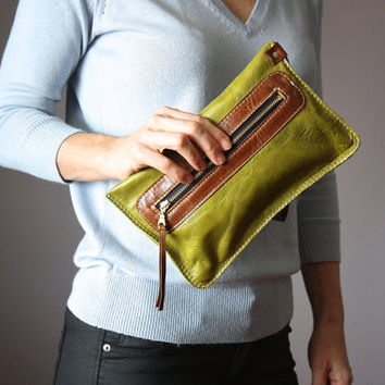 Chartreuse green clutch,  leather clutch, wristlet, leather purse, Iphone5 Iphone6 case, wallet , coin purse