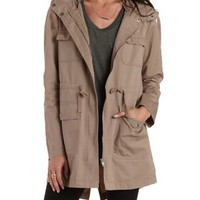 Longline Hooded Anorak Jacket by Charlotte Russe