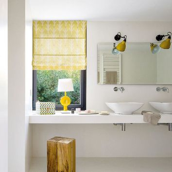 Quick Fix Washable Roman Window Shades Flat Fold, Yellow Forest