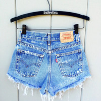 Levi High Waisted Denim Shorts CutOffs - Cheeky Light Wash - Sizes 0-20 US Womens