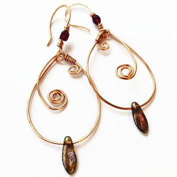 Copper Swirl Earrings Hammered Copper Hoop Earrings Copper Hoop Dangle Earrings Boho Style Copper Jewelry Copper Swirl Leaf Earrings (E290)