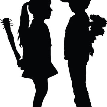 Banksy Girl with Nail Bat vs Boy with Flowers Decal Sticker