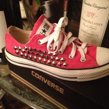 studded custom pink converse all star chuck taylors all sizes colors