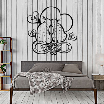 Vinyl Wall Decal Cats Love Romantic Bedroom Decor Stickers Unique Gift (347ig)