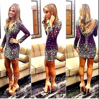 Sparkle Crystal Rhinestone Cocktail Dress Long Sleeve Sexy V Neck Open Back Short Fitted Formal Party Dress robe cocktail 2017