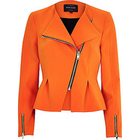 River Island Womens Orange asymmetric peplum jacket