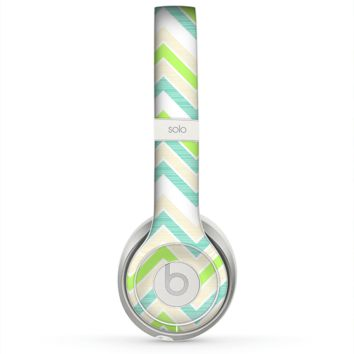 The Vibrant Green Vintage Chevron Pattern Skin for the Beats by Dre Solo 2 Headphones