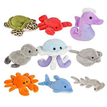 Wildlife Tree Small Stuffed Animals Ocean Toys or Sea Party Favors (Pack of 9)