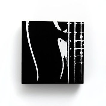 6 x 6 Electric Bass Guitar Music Canvas (Black w/ White) Screenprint/Painting, Music Home Decor, Guitar Wall Art, Guitar Print