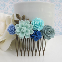 Bridal Wedding Style. Shades of Blue. Antiqued Leave Floral Blue Wedding Collage Antiqued Filigree Statement Hair Comb. Bridesmaids Gift