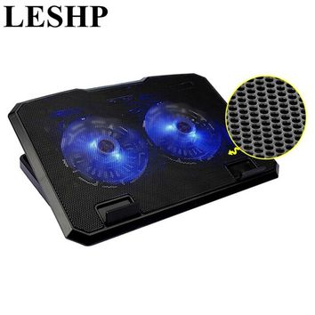 LESHP NotebooCooling Pad Laptop Cooler 2 LED Fans 2 USB Port Stand Adjustable Chill Mat Pad for 15.6inch Notebook PC