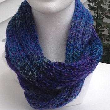 Purple and Teal Infinity Eternity Circle Chunky Knitted Winter Scarf