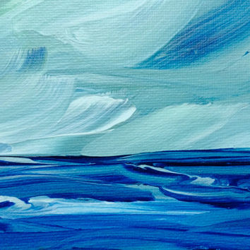 Original Seascape Beach Painting Original Acrylic Abstract Coastal Landscape 8x10 Blue Green Turquoise Kamara Larry