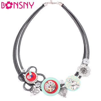 Bonsny Crystal Flower Collar Necklace Chain luxury Shell Choker Necklace  Handmade Fashion Jewelry For Women 2016 News Brand