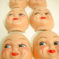 Vintage Doll Face Plastic Dolls Smiling Dimples Art Assemblage Collage Dollmaking Supplies