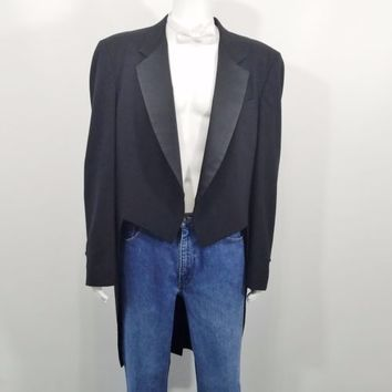 Raffinati Formal Tail Tuxedo Tux Tailcoat Black 46L Made in USA Theater Cosplay