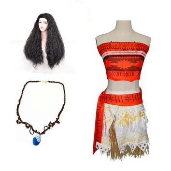 Full set Movie Prince Moana Cosplay Costume women Princess vaiana Costume Princess Dress Skirt Halloween Costume for Women