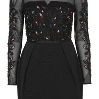 Embellished Mesh Dress - Black