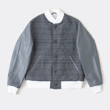 Button Front Varsity Jacket w Leather Sleeves