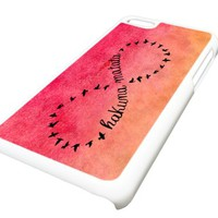 Apple iPhone 5C 5 Hakuna Matata Infinity Red Watercolor DESIGN Case Cover Skin WHITE HARD PLASTIC Teen Gift Vintage Hipster Fashion Design Art Print Cell Phone Accessories