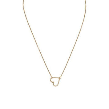 "Heart necklace - 16"" + 2"" 14 Karat Gold Plated Sideways Heart Necklace"