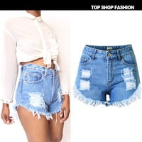 2016 Spring Summer Fashion Women Shorts Plus Size High Waisted Denim Shorts Ripped Jeans Shorts Pantaloncini Donna B380