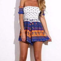 Pattern Print Off-Shoulder Romper