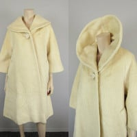 Lilli Ann 1950s vintage Ivory Wool Mohair Tisse A Paris Mod Shawl Swing Coat Jacket Atomic Mad Men