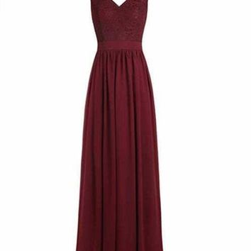 Ubridal US Shipping Women's Long V Neck Bridesmaid Dress Chiffon Lace Wedding Party Gown