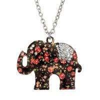 Mudd Flower Elephant Pendant Necklace