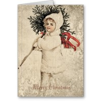 Vintage Girl in White with Christmas Tree from Zazzle.com