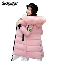 Geckoistail Warm Fur Fashion Hooded Quilted Coat Winter Jacket Women 2017 Zipper Down Cotton Parka Plus Size Slim Outwear T0923