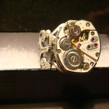 Steampunk  Vintage Elgin Watch Movement Ring with Exposed Gears (929)