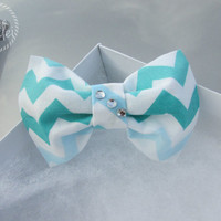 "The ""Ombre"" Chevron Hair Bow - Aqua, Teal, Baby Blue, Gem Stones , Clip On"