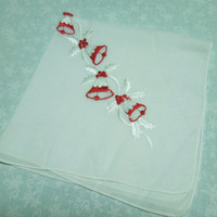 Vintage White and Red Christmas or Holiday Embroidered hanky, hankerchief by MarlenesAttic