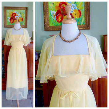 Vintage 60s Yellow Maxi dress /Sheer Chiffon Cape Dress Flattering Ruffle / 1960s House of Biachi  Royal Sophisticates Cocktail Dress S