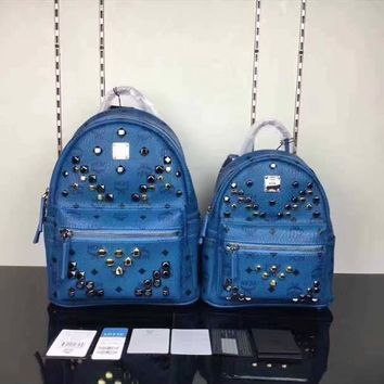 MCM Stark Studded Backpack Medim Blue