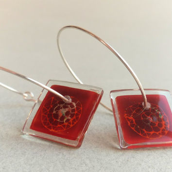 Seashell hoops - Fused glass earrings - Sterling silver hoop earrings - Red glass hoops - Red hoops - Fused glass jewelry