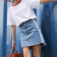 Harajuku Women Skirt Preppy Style Denim Skirts Mini Striped Cute School Uniforms Saia Faldas Ladies Jupe Kawaii Skirt SK085