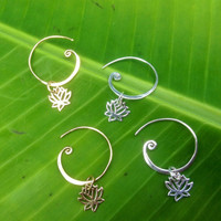 Lotus Flower Curled Hoop Earrings